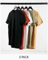 ASOS 5 Pack Longline T-shirt With Side Splits - Multicolour
