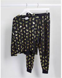 Chelsea Peers – Pyjama mit Ananasfoliendruck - Schwarz