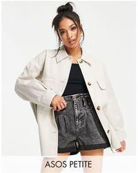 ASOS ASOS DESIGN Petite - Camicia giacca color pietra slavato - Multicolore