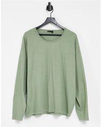 ASOS – Langärmliges Oversize-T-Shirt mit U-Ausschnitt - Grün