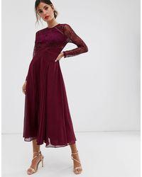 ASOS Long Sleeve Lace Paneled Pleat Midi Dress-red - Multicolor