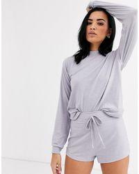 Missguided Zachte Pyjamaset Met Short - Blauw