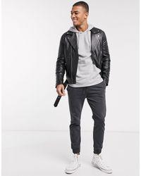 Barneys Originals Barney's Originals Biker Leather Jacket With Belt And Silver Trims - Black