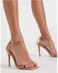 Glamorous Barely-there Heeled Sandals - Natural