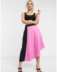 UNIQUE21 Contrast Panelled Skirt - Pink