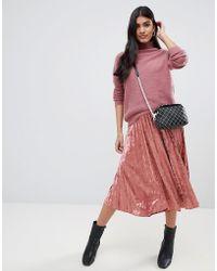 Glamorous - Pleated Velvet Midi Skirt - Lyst