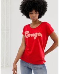 Blend She Camiseta con eslogan Timmy Rouge - Rojo