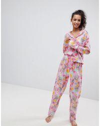 ASOS - Bright Floral 100% Modal Traditional Shirt & Trouser Pyjama Set - Lyst