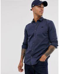 Lacoste Effen Overhemd Met Lange Mouwen - Blauw
