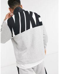 Nike Серый С Черным Свитшот С Короткой Молнией Hybrid