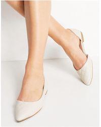 New Look Белые Стеганые Туфли На Плоской Подошве С Заостренным Носом -белый