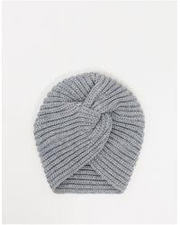 Glamorous Ribbed Wrap Hat - Grey