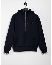 Fred Perry Zip Through Hooded Sweat - Blue