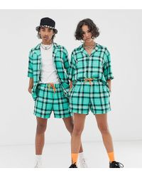 Reclaimed (vintage) - Unisex Checked Short In Green - Lyst