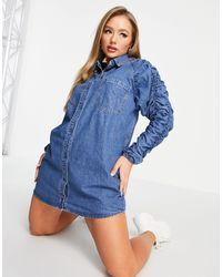 Missguided - Синее Джинсовое Платье-рубашка С Присборенными Рукавами -голубой - Lyst