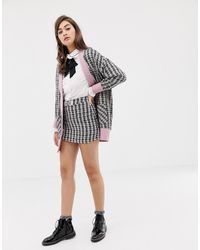 Sister Jane Mini Skirt With Embellished Bow In Tweed Co-ord - Multicolour