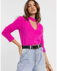River Island Fluffy Sweater With Choker Detail - Pink