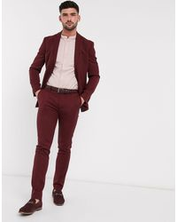 TOPMAN Skinny Fit Suit Trousers - Red