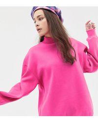 Bershka - High Neck Oversized Jumper In Neon Pink - Lyst