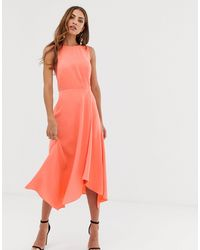 Warehouse Midi Dress With Tie Back - Red