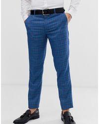 Original Penguin Orginal Slim Fit Blue Prince Of Wales Check Suit Trouser