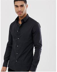 River Island Aansluitend Zwart Poplin Overhemd