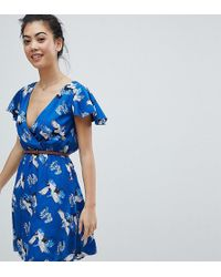 Yumi' - Wrap Front Dress With Belt In Heron Print - Lyst