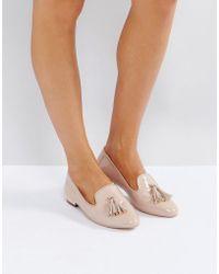 Miss Kg Flat Metal Trim Heel Slipper - Natural