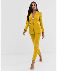 Club L London Pantalones pitillo ajustados en amarillo