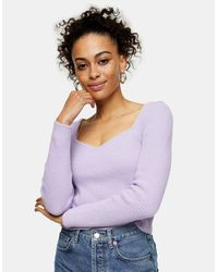 TOPSHOP Lilac Sweetheart Fluffy Knitted Top - Purple