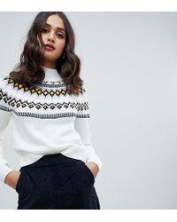 Miss Selfridge Sweater In Fairisle - White