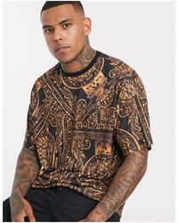 ASOS Oversized Longline T-shirt With All Over Baroque Print - Brown