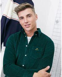 GANT Зеленая Вельветовая Рубашка Классического Кроя В Шотландскую Клетку На Пуговицах С Логотипом -зеленый Цвет
