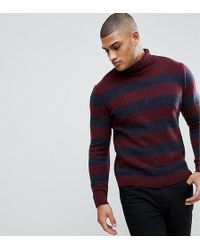 ASOS DESIGN - Asos Tall Fluffy Jumper In Navy And Burgundy Stripe - Lyst