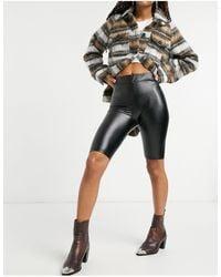 Bershka Coated legging Short - Black