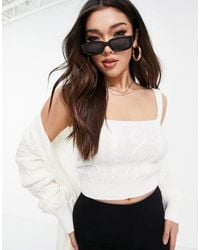 Naanaa Knitted Cardi And Cami Set - White