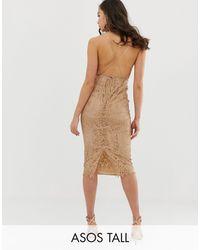 ASOS Asos Design Tall Square Neck Midi Pencil Dress - Brown