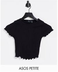 ASOS - Camiseta corta negra ajustada con bordes ondulados - Lyst