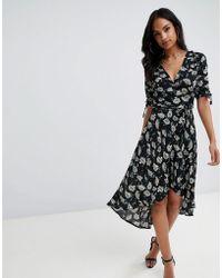 AX Paris - Printed Wrap Midi Dress - Lyst