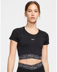 Nike Черная Короткая Футболка С Сетчатыми Вставками Nike Pro Training-черный