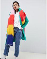 ASOS Oversized Long Rainbow Block Stripe Scarf - Multicolor