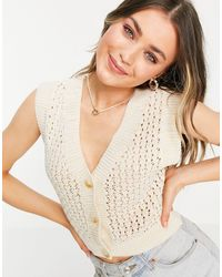 ASOS Crochet Tank With Button Placket - White