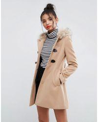 ASOS Asos Duffle Coat With Faux Fur Hood - Multicolour