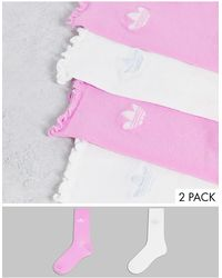 adidas Originals Набор Из 2 Пар Прозрачных Носков Розового И Белого Цвета С Оборками 2000s Luxe-разноцветный - Розовый