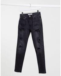 Bershka Slim-fit Jeans Met Scheuren - Zwart