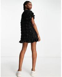 Lola May Shirred Satin Mini Dress - Black