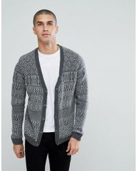 ASOS - Asos Lambswool Fairisle Cardigan In Gray - Lyst