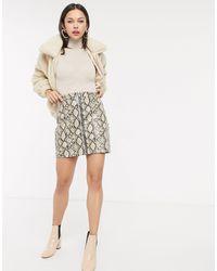 New Look Коричневая Виниловая Мини-юбка Со Змеиным Узором И Молнией -коричневый