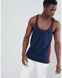 60d704a7672b ASOS - Tank With Extreme Racer Back And Contrast Panels In Navy - Lyst