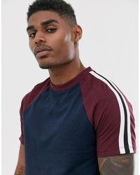 ASOS - Organic Raglan T-shirt With Taping In Navy - Lyst